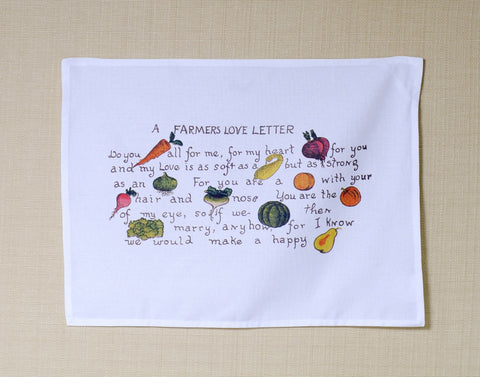A Farmer's Love Letter 1909 Cotton Kitchen Towel