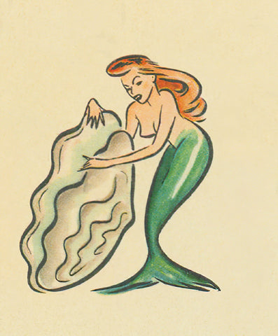 Mermaid and Oyster Shell 1940s detail