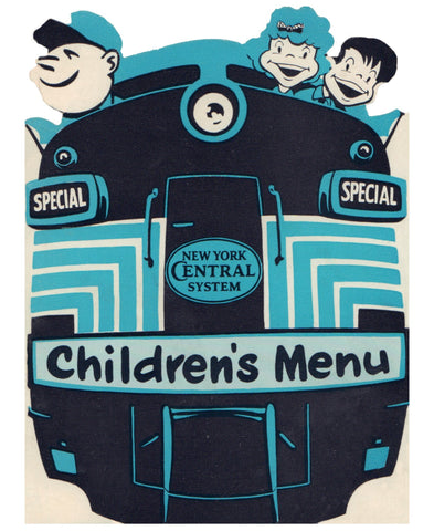 New York Central System, Children's Menu, 1950s Menu Art