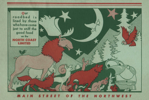 North Coast Limited Main Street of the North West 1951 Menu Art