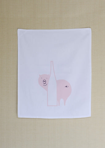 Pink Pig Behind Bottle La Vieille Porte Kitchen Towel, Montreal 1970s