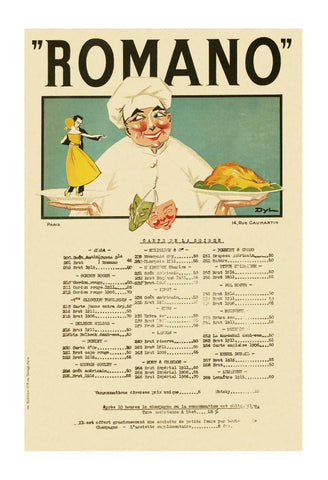 Romano, Paris 1923 Champagne Menu