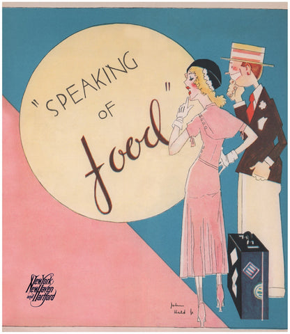 "John Held Jr New Haven Railroad ""Speaking of Food"" 1932"