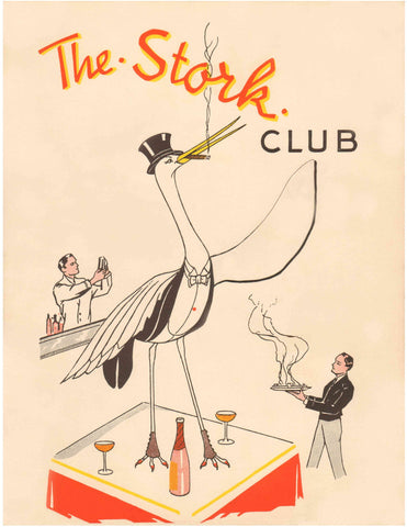 The Stork Club New York 1930s Menu Art