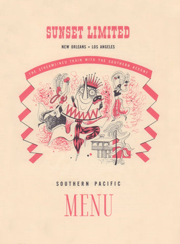 Sunset Limited Los Angeles to New Orleans 1954 Train Menu Art