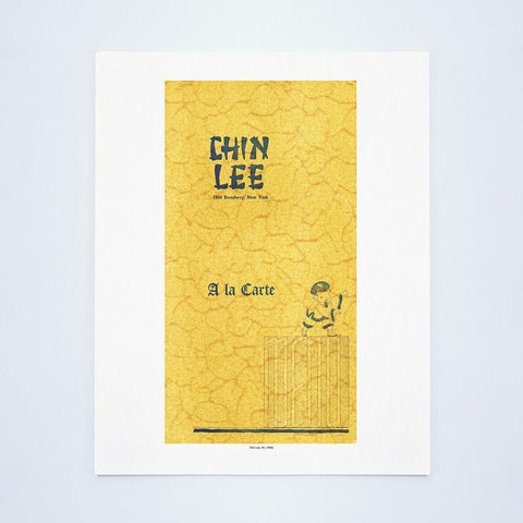 Chin Lee, New York, 1940s Vintage Chinese Menu Art