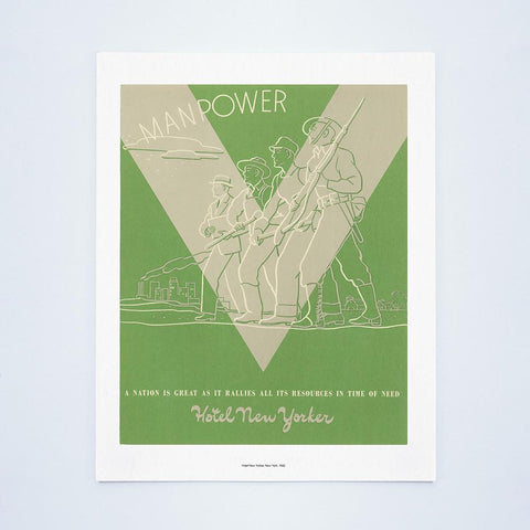 "Hotel New Yorker ""Manpower"", New York, 1942 Vintage Menu"