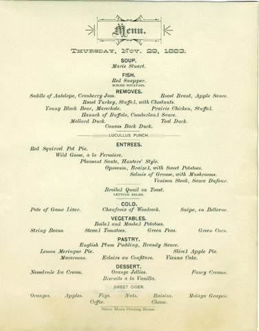 Windsor Hotel, St Paul, Thanksgiving 1883