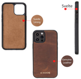 "iPhone 12 Pro Max (6.7"") Leather Snap On Case -Dark Brown"