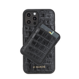 "iPhone 12 Pro Max (6.7"") Leather Snap On Case -Crocodile Black"