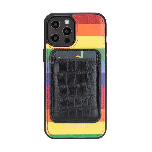 "iPhone 12 Pro Max (6.7"") Leather Snap On Case - Rainbow"