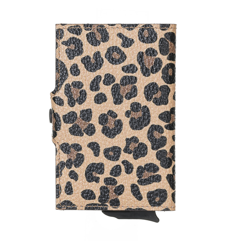 San Diego Leather Mechanical Wallet- Leopard