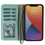 """iPhone 12 Pro Max (6.7"""") magnetisches abnehmbares Wallet Case mit Armband - Mintgrün Min"""