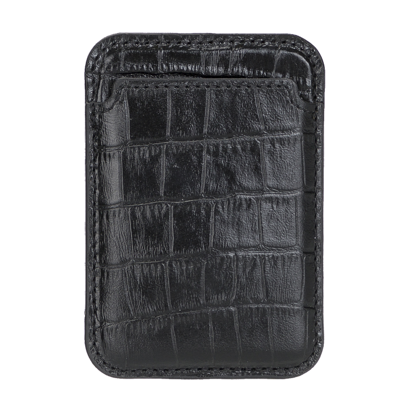 Leather Wallet with MagSafe- Crocodile Black