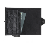 San Diego Leather Mechanical Wallet- Crocodile Black