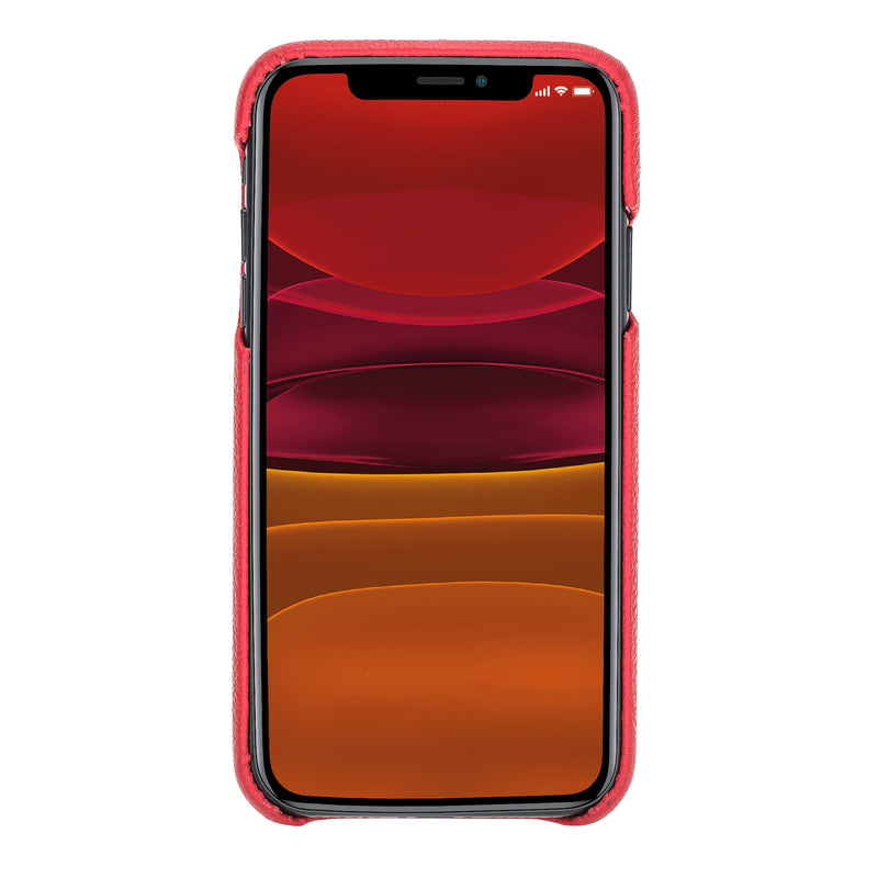 "iPhone 11 Pro (5.8"") 360º Full Cover Pebbled Leather Snap On Case- Ruby Red"