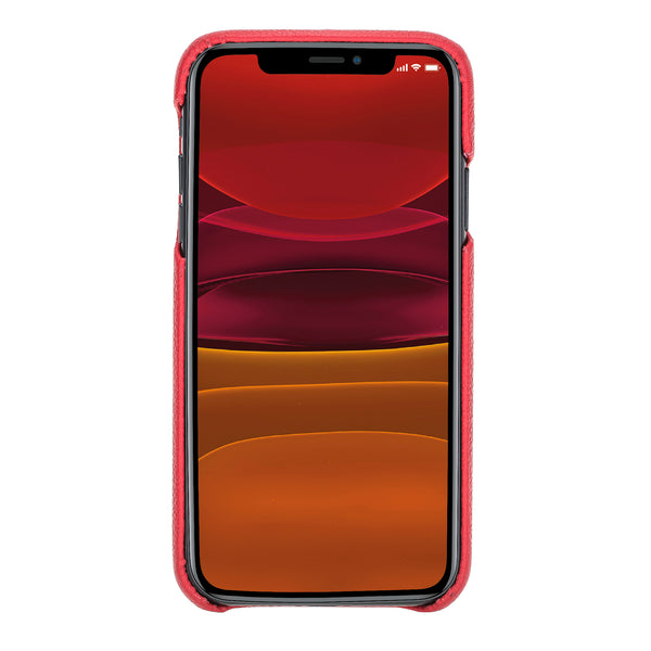"iPhone 11 (6.1"") 360º Full Cover Pebbled Leather Snap On Case- Ruby Red"