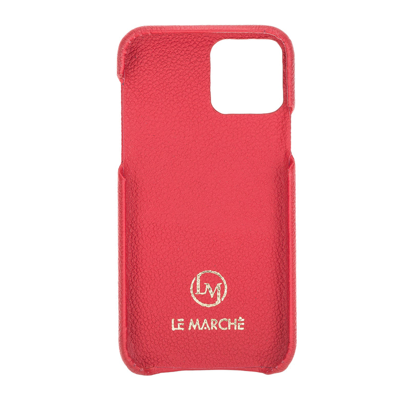 "iPhone 11 Pro Max (6.5"") 360º Full Cover Pebbled Leather Snap On Case- Ruby Red"