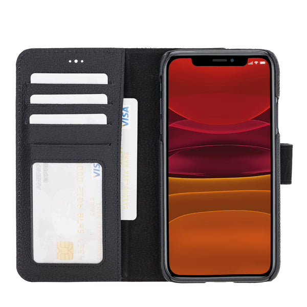 "iPhone 11 (6.1"") Magnetic Detachable Pebbled Leather Wallet Case- Dşablo Black"