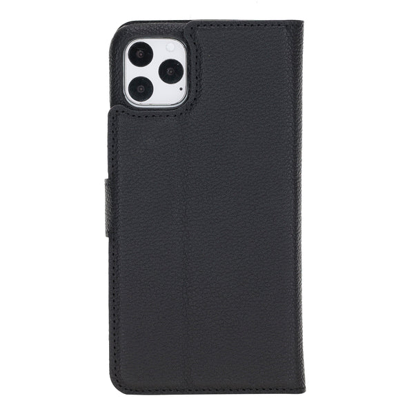 "iPhone 11 Pro Max (6.5"") Magnetic Detachable  Pebbled Leather Wallet Case"