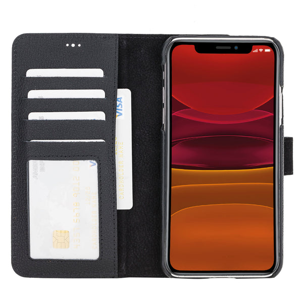 "iPhone 11 Pro Max (6.5"") Magnetic Detachable  Pebbled Leather Wallet Case- Black"