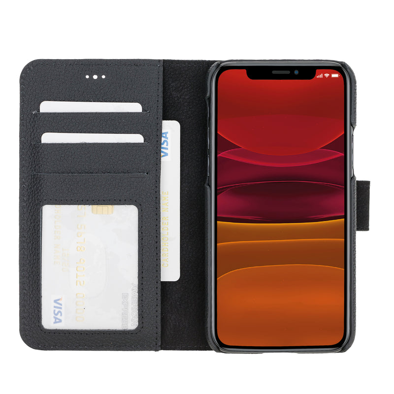 "iPhone 11 Pro (5.8"") Magnetic Detachable Pebbled Leather Wallet Case"