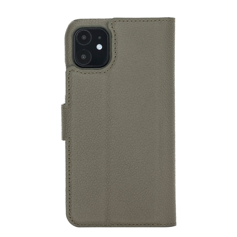 "iPhone 11  (6.1"") Magnetic Detachable Pebbled Leather Wallet Case- Midnight Green"