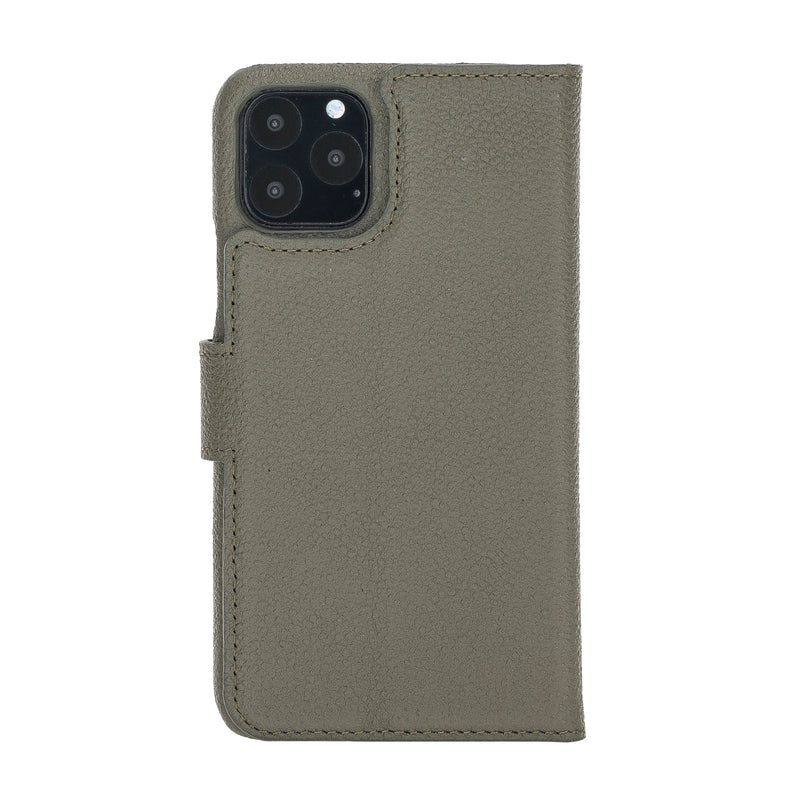 "iPhone 11 Pro (5.8"") Magnetic Detachable Pebbled Leather Wallet Case- Midnight Green"