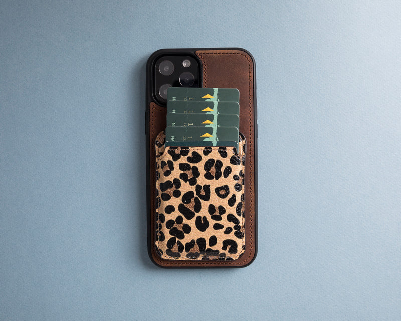 Leather Wallet with Magsafe- Leopard