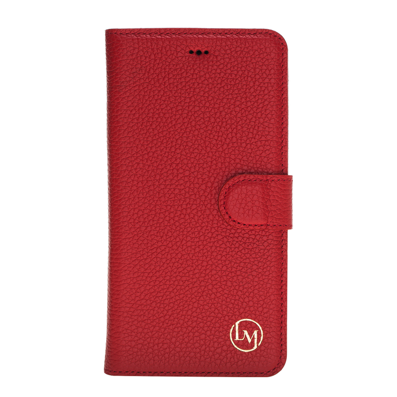 iPhone X/XS Leather Magnetic Detachable Wallet Case- Ruby Red
