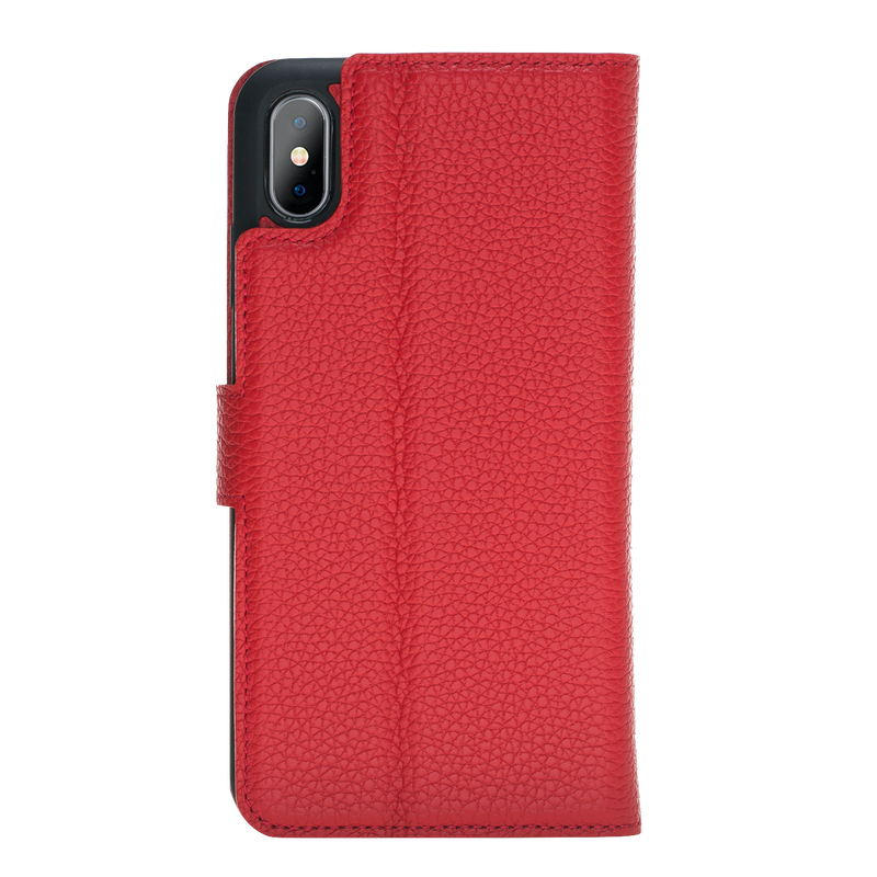 iPhone XS Max Leather Magnetic Detachable Wallet Case- Ruby Red