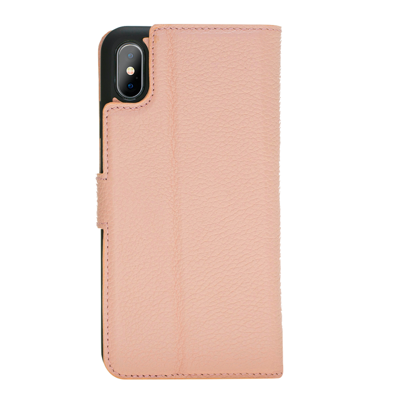 iPhone X/XS Leather Magnetic Detachable Wallet Case- Nude Pink
