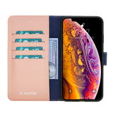 iPhone XS Max Leder Magnetische abnehmbare Brieftasche Hülle - Nude Pink