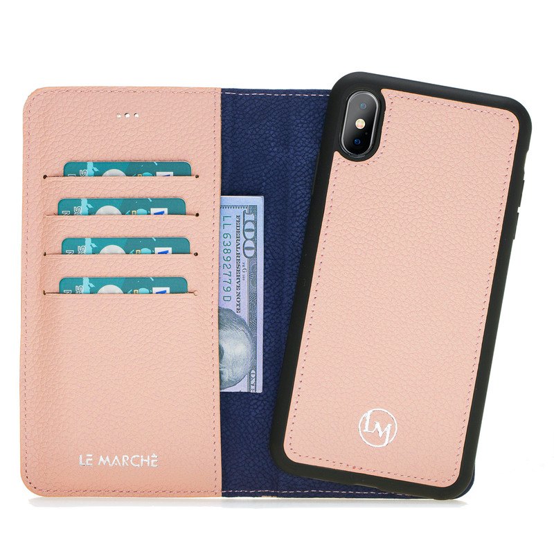 iPhone XS Max Leather Magnetic Detachable Wallet Case- Nude Pink