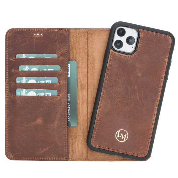 "iPhone 11 Pro Max (6.5"") Magnetic Detachable Leather Wallet Case- Dark Brown"