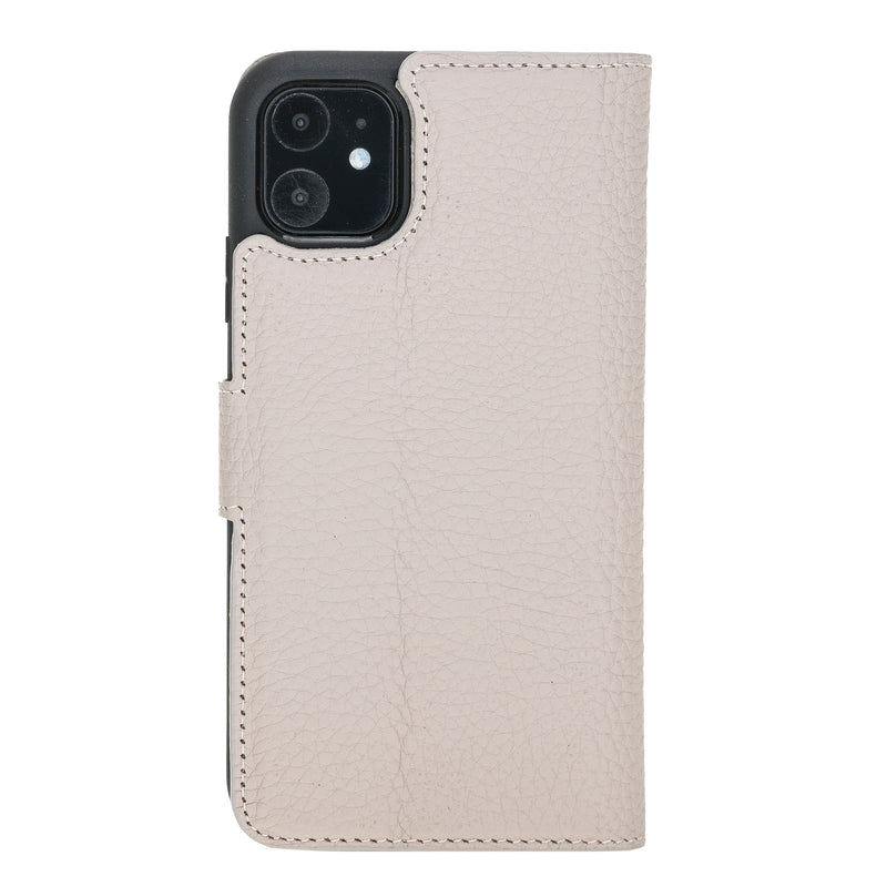 "iPhone 11 Pro Max (6.5"") Magnetic Detachable Leather Wallet Case- Beige"