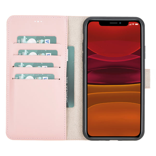 "iPhone 11 Pro Max (6.5"") Magnetic Detachable Leather Wallet Case- Nude Pink"