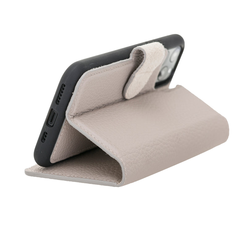 "iPhone 11  (6.1"") Magnetic Detachable Leather Wallet Case- Beige"