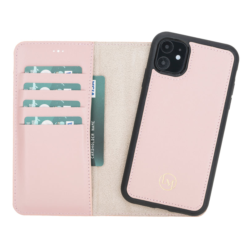 "iPhone 11  (6.1"") Magnetic Detachable Leather Wallet Case- Nude Pink"