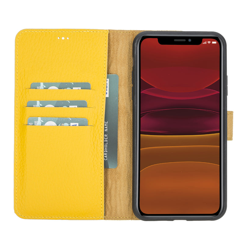 "iPhone 11 Pro (5.8"") Magnetic Detachable Leather Wallet Case- Lemon Yellow"
