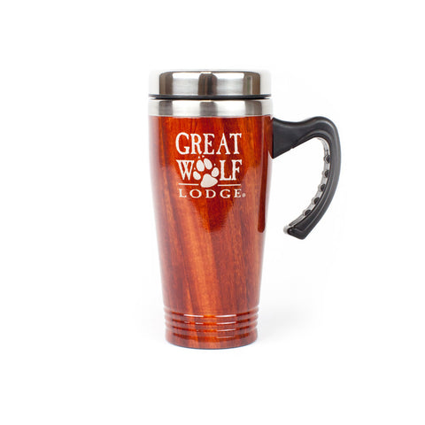 Stainless Steel and Wood Grain Travel Mug