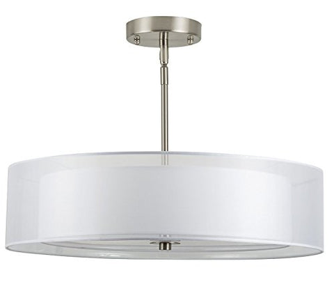 Linea Di Liara Grazia 20-Inch Three-Light Double Drum Convertible Ceiling Fixture, Brushed Nickel With A White Fabric Shade Ll-P117-Bn