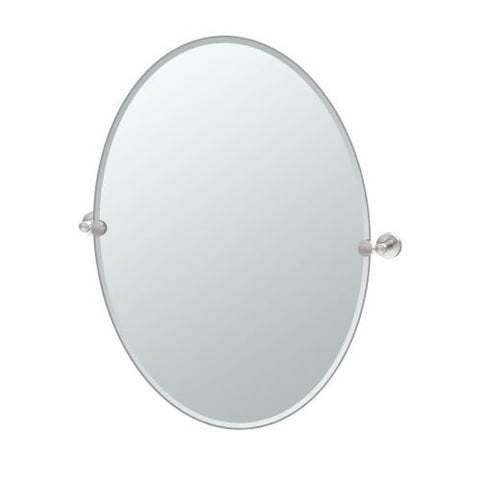 Gatco 4649Lg Glam Large Oval Mirror, Satin Nickel