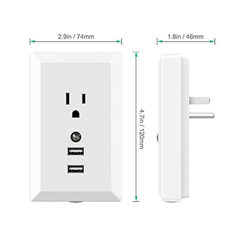 Imagitek Wall Mount Surge Protector Outlet Plug With Dual 2.4A Usb Charging Ports And Led Night Light