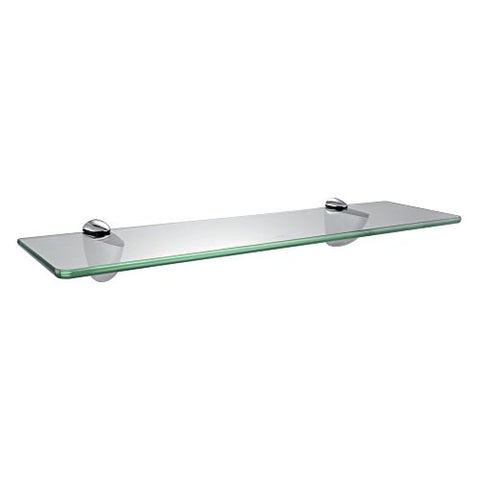 Kes Bgs3200 Lavatory Bathroom Tempered Glass Shelf 8Mm-Thick Wall Mount Rectangular, Polished Chrome