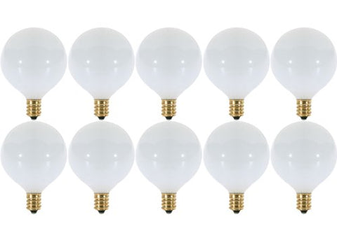 15 Watt White G16.5 Decorative (E12) Candelabra Base Globe Shape 120V 15G16 1/2 Light Bulbs