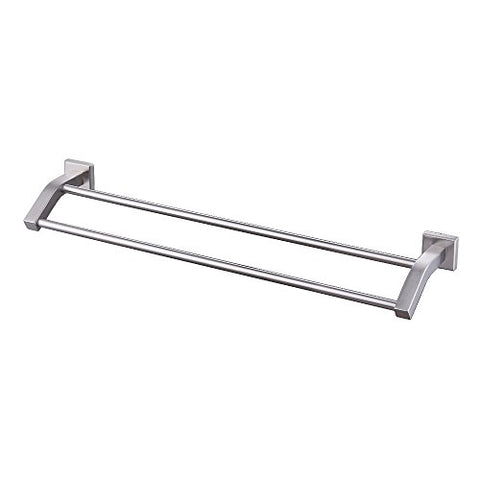 Kes Towel Bar, Bathroom Shelf Double Rod 24 Inch Polished Sus 304 Stainless Steel Wall Mount Rack Contemporary Style, A2202-2