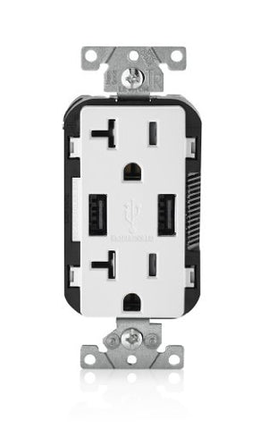 Leviton T5832-W Usb Charger/Tamper-Resistant Duplex Receptacle, 20-Amp, White