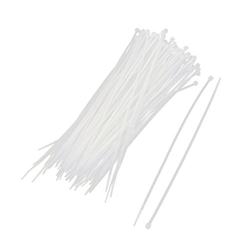 Uxcell Nylon Wire Zip Cable Organizer Tie, 2.5Mm X 200Mm, 100Pcs, White