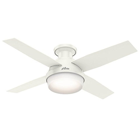 Hunter 59244 Dempsey Low Profile Fresh White Ceiling Fan With Light & Remote, 44